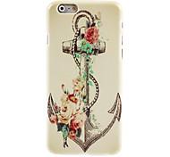 retro anker en bloem design harde case voor iPhone 6