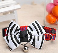 Adjustable Meshbelt Zebra-Stripe Pattern Bowknot and Bell Decorated Collar for Pet Dogs