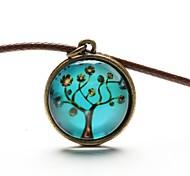 tempo art colar de pingente de árvore de vida jóia árvore cabochão de vidro colar