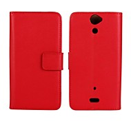 Solid Color Pattern Genuine Leather Full Body Case with Stand and Card Slot for Sony LT25i/Xperia V