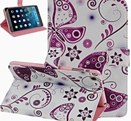 Purple Butterfly Pattern PU Leather Flip Protective Case Cover with Stand for iPad mini