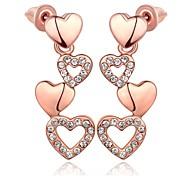 Classics Copular Heart-Drop Rose Gold Rose Gold-Plated Drop Earrings(Rose Gold)(1Pair)