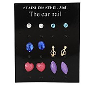 Women'sFashion Exquisite Resin Stud Earrings(1 Card Contains 6 Pair)(Random Color)