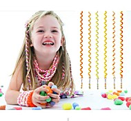 6Pcs 24cm Orange Children's Curly Hair Rope(Yellow)
