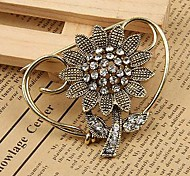 Fashion Retro Rhinestone Sunflower Brooches Random Color