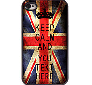 Personalized Case UK Flag Keep Calm Design Metal Case for iPhone 4/4S
