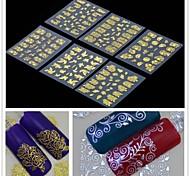 6pcs 3d fleur d'or autocollants nail art