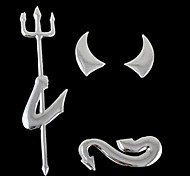 3D Funny Auto Decoration Silver Devil Style Demon Paper Hot Car Stickers(1 Pc)