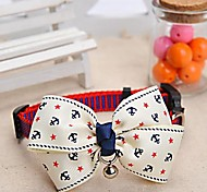 Adjustable Meshbelt Anchor Pattern White Bowknot and Bell Decorated Collar for Pet Dogs
