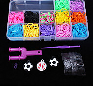 Eruner®Loom Bands Random Color Rubber Band Set(12pcs S Hook,1pcs Crochet Hook,1pcs