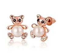 Mode jolie ours en or rose rose boucles d'oreille en plaqué or (or rose) (1 paire)