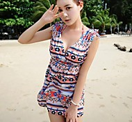Women's Fashion Print Front And Back Deep V Swimwear Swimsuit Bikini Beach Cover Up Holiday Dress