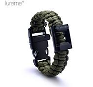 Lureme® Simple Style Polyester Weave Outdoor Survival Escape  Whistle Compass Parachute Cord Bottle Opener Bracelet