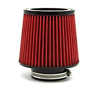 "TIROL Red Universal Inlet Cold Air Intake Filter Diameter 3"" Pipe Round Tapered PU Material"