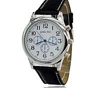 montre à quartz Miyota 2035 Movt hommes étanche bracelet en cuir robe de montre-bracelet réveil des hommes (couleurs assorties)