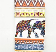 Elephant Pattern PU Leather Full Body Case with Card Slot and Stand for iPhone 4/4S