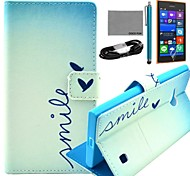 COCO FUN® Cute Heart Pattern PU Leather Case with Film and USB Cable and Stylus for Nokia Lumia 730/735