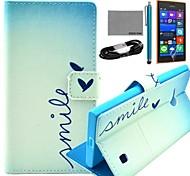 coco fun® cuore modello carino pu custodia in pelle con la pellicola e il cavo usb e lo stilo per Nokia Lumia 730/735