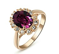 18K Rose Gold Plated Emerald Purple Crystal Ring Elegant Jewelry CZ Diamond Austrian Crystal Stellux