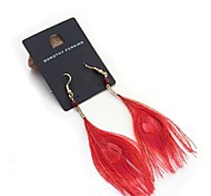 Red Peacock Feather Earrings