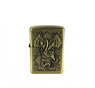 Creative Flame Dragon Pattern Oil Lighter - Antique Brass