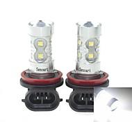 2x h11 pgj192 50w 6500k 10xcree froide de 3100lm blanc pour la lumière de brouillard de voiture (ac / DC12V-24)