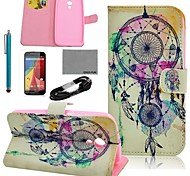 COCO FUN® Wind-Bell Pattern PU Leather Case with Film and USB Cable and Stylus for Motorala Moto G2 XT1063