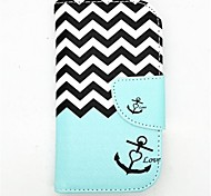 Anchor Pattern PU Leather Full Body Case with Card Slot and Stand for S3 Mini I8190N