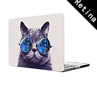 """Funny Cat with Big Glasses Design Full-Body Protective Plastic Case for 13""""/15"""" MacBook-Pro with Retina Display"""