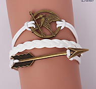 Eruner®Leather Bracelets Multilayer Alloy Mockingjay and Arrow Charms Handmade Brac