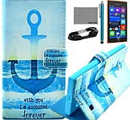COCO FUN® Anchor In Sea Pattern PU Leather Case with Film and USB Cable and Stylus for Nokia Lumia 730/735