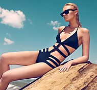 Women's Fashion Sexy Dark Navy Hollow Push Up One Piece Swimwear Swimsuit Bathing Suit
