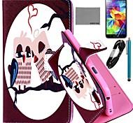 caso padrão da coruja coração couro pu Coco fun® com filme e cabo USB e caneta para i9600 samsung galaxy s5