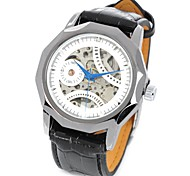 CJIABA GK8001-SW Men's PU Leather Band Skeleton Self-winding Mechanical Wrist Watch for Men(Black)