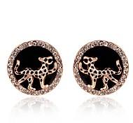 círculo de la moda y el tigre rosa de oro rosa de aretes bañados en oro (oro rosa) (1 par)