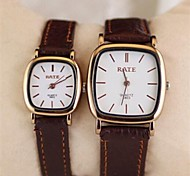 Couple's  Leather fashion watches   Circular High quality Japanese watch movement(Assorted Colors)