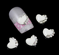 10pcs White Heart Accessories For Nail Glue DIY Alloy Nail Art Decoration