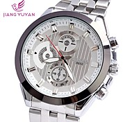 Men's Round Dial Alloy Rhinestones Quartz Wristwatch (Assorted Colors)