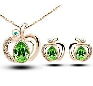 Love Apple Senior Crystal Pendant Necklace & Earrings Jewelry Set (Green、Blue)