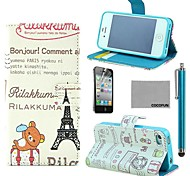 COCO FUN® Effiel Tower Bear Pattern PU Leather Case with Screen Protector and Stylus for iPhone 4/4S