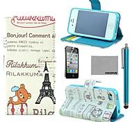 coco fun® effiel toren beer patroon pu lederen tas met screen protector en stylus voor iPhone 4 / 4s