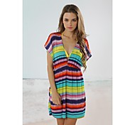 Women's Fashion Multi Color Stripe Deep-v Bikini Swimwear Swimsuit Beach Cover-up Mini Dress