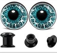 Acryl-Innengewinde blue eye-Logo Ohrstöpsel Tunnelprofilen verjüngen Piercing Körperschmuck einen Satz von 2 12 mm