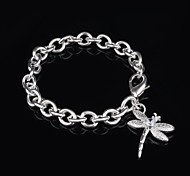 Women's Fashion Dragonfly Design Silver Plated Charm Bracelet
