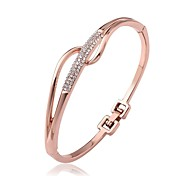 Fashion Tin Alloy Rose Gold Plated Women Round Bangles (1 Pc)