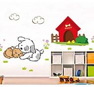 gato dos desenhos animados e da parede do teste padrão do cão adesivo