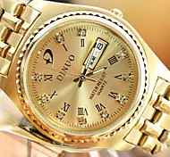 Men's Round Dial Rome Digital Double Calendar Water Resistant/Water Proof Steel Band Gold Quartz Fashion Watch Wrist Watch Cool Watch Unique Watch