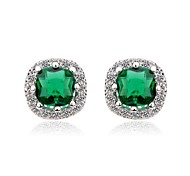 18K White Gold Plated CZ Diamond Stud Earrings Multi Prongs Square Cubic Zirconia Earrings (More Colors)