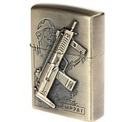 6103-3 Antique Gun Pattern Copper Zinc Alloy Oil Lighter (Bronze)
