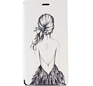 Figure Girl Pattern PU Leather Case with Stand and Card Slot for Sony M2 (S50h)